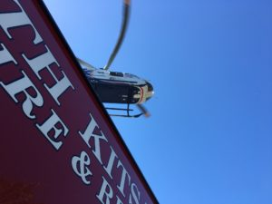 Generally, crews use local school athletic fields as helicopter landing zones. On Friday, with a seriously-ill diver needing rapid transport to Seattle and few vehicles in the lot, Airlift Northwest was able to land adjacent to the Port of Kingston's boat launch.